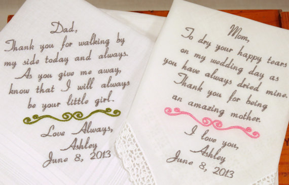 Personalised Wedding Gifts For Parents : ... Wedding Hankerchiefs Handkerchiefs Personalized 2 Gifts For Parents on